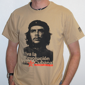 T-Shirt: Che Guevara Viva la revolucion cubana - Cuba50 - black and orange on tan