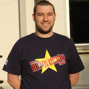 T-Shirt: Star Viva la Revolucion yellow and red on navy blue