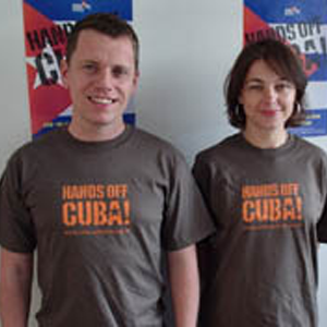 Tshirt: 'Hands off Cuba' on olive shirt