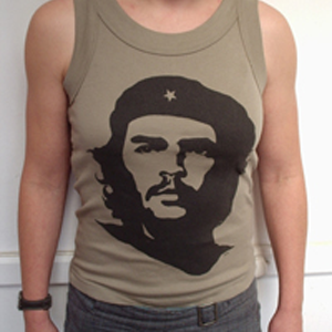 Tshirt: Che, black on OLIVE women's fitted vest