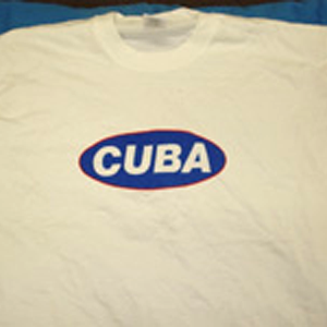 T-Shirt: White with CUBA on a blue lozenge