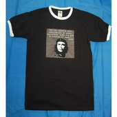 T-shirt: Che Comrade 'If you tremble with injustice' on black shirt