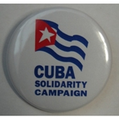 Badge: Cuba Solidarity Campaign with flag