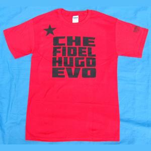 X T-Shirt: Solidarity with Latin America - Che Fidel Hugo Evo - Red shirt