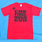 Tshirt: Solidarity with Latin America - Che Fidel Hugo Evo - Red shirt