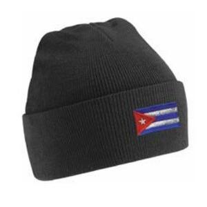Beanie Hat - black with Cuban flag