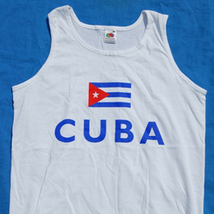 Vest: Sport: Cuban Flag and CUBA  on white vest