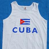Vest: Sport: Cuban Flag and CUBA  on white vest