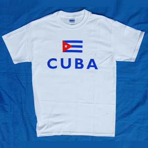 Tshirt: Sport: Cuban Flag and CUBA on white