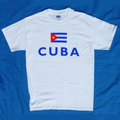 T-Shirt: Sport: Cuban Flag and CUBA on white